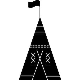 Afrikanische Stammes Zelt mit Fahne