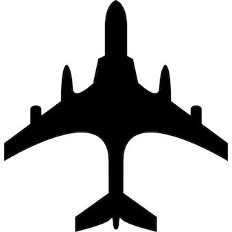 Flugzeug schwarze Gestalt aus der Draufsicht