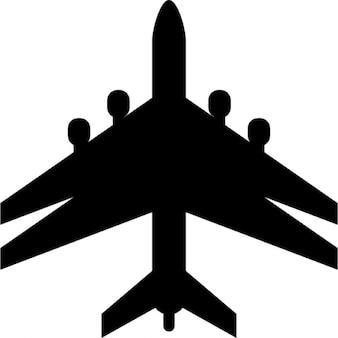 Flugzeug schwarze Gestalt mit Doppelflügel