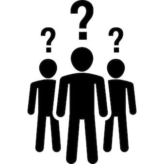 Gruppe von Menschen mit Fragen und Zweifeln