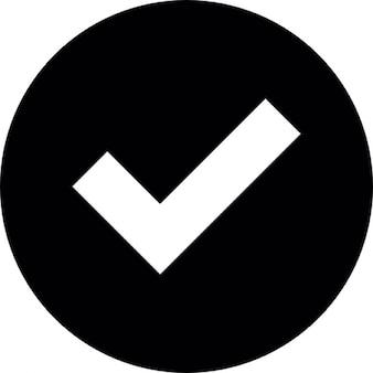 Häkchen weiß auf schwarz kreisförmigen Hintergrund