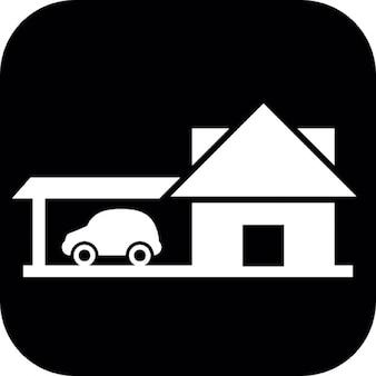 Haus mit Fahrzeug auf einem schwarzen Quadrat Hintergrund