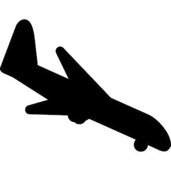 Landung Flugzeug schwarze Gestalt, ios 7-Schnittstelle Symbol