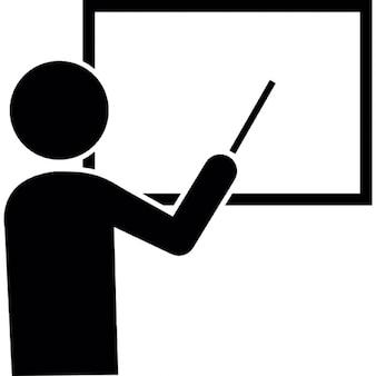 Männlicher Cartoon zeigt auf weiße Tafel