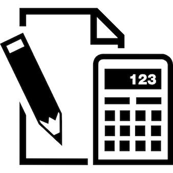Papier Bleistift und Taschenrechner