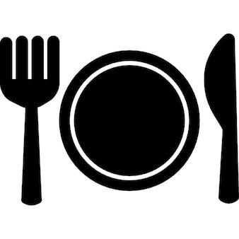 Platte Gabel und Messer