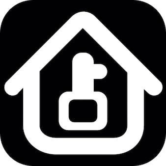 Schlüssel und Haus-Weiß-Umriss auf einem quadratischen Hintergrund