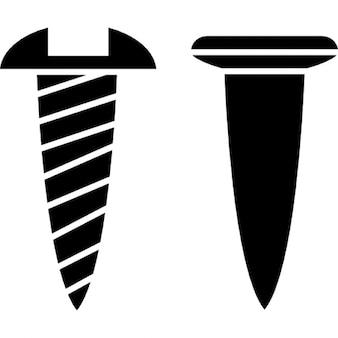 Schraube und Nagel skizziert Seitenansicht