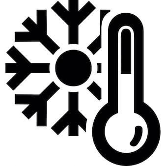 Thermometer und eine Schneeflocke, kalte Winterwetter Symbol