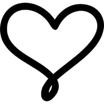 Amore simbolo del cuore disegnato a mano contorni