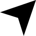 Arrow triangolare simbolo nero che punta in alto a destra
