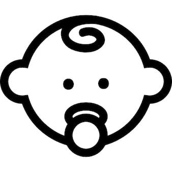 Bambino contorno testa con ciuccio