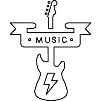 Bandiera musica e una silhouette di chitarra