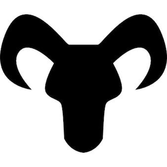 Capricorno segno zodiacale della testa silhouette nera con le corna