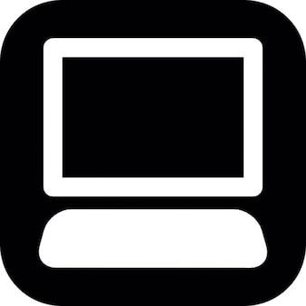 Computer desktop nero su sfondo quadrato