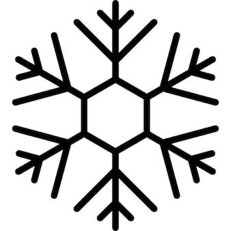 Disegno fiocco di neve con linee sottili su forma esagonale