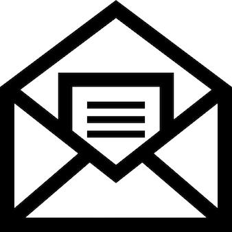 Email simbolo aperto di una busta con una lettera all'interno