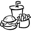 Fast food bevande hamburger e patatine fritte