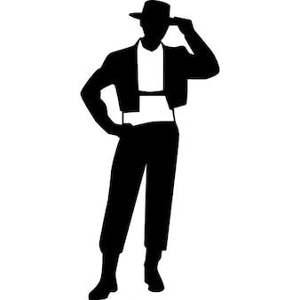 Flamenco maschio simbolo modello in piedi frontale