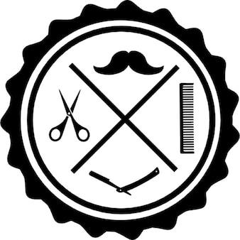 Commerciali simbolo parrucchiere di forma circolare for Simbolo barbiere