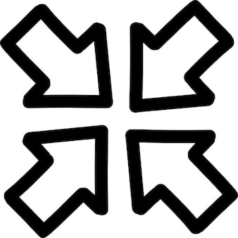 Join di quattro frecce contorni disegnati a mano