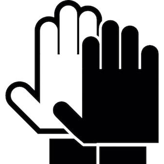 Mani palme in bianco e nero, simbolo smettere di avviso