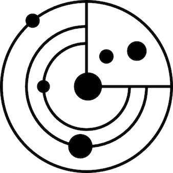 Modello di sistema solare con piccoli cerchi come pianeti