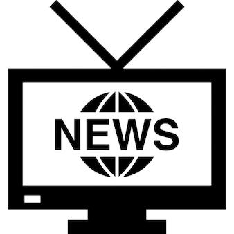 Monitor tv con antenna e il programma di notizie internazionali sullo schermo