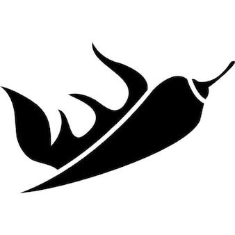 Peperoncino con fiamme di fuoco calde, ios simbolo 7 Interfaccia