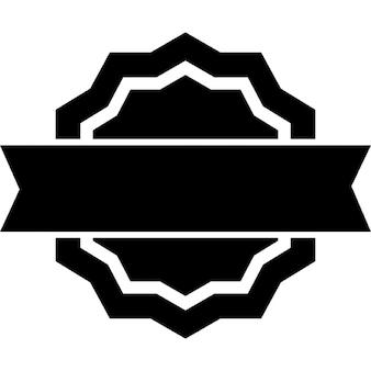 Pubblicità distintivo di forma circolare stelle con un banner frontale nel mezzo