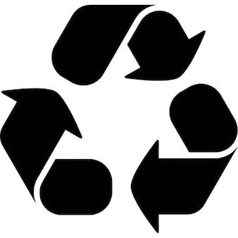 Simbolo del riciclaggio con tre frecce curve