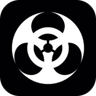 Simbolo di rischio biologico su sfondo quadrato