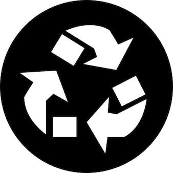 Simbolo frecce riciclare triangolo in un cerchio