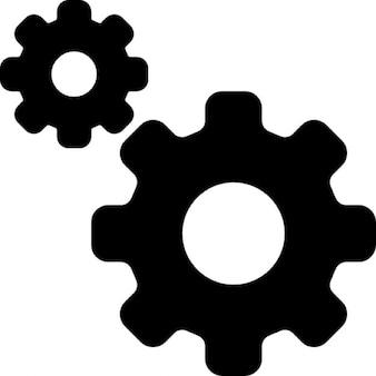 Simbolo interfaccia delle impostazioni di due ingranaggi di diverse dimensioni