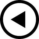 Triangolo Freccia sinistra a pulsante circolare