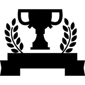 Trofeo sportivo su un banner con rami di ulivo
