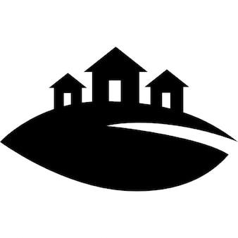 Blad heuvel huizen logo