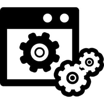Data instellingen symbool van een venster met versnellingen