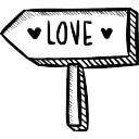 De richting teken van liefde