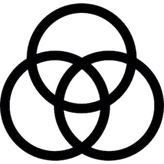 Drie overlappende cirkels centraal