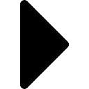 Driehoekige zwarte pijl naar rechts