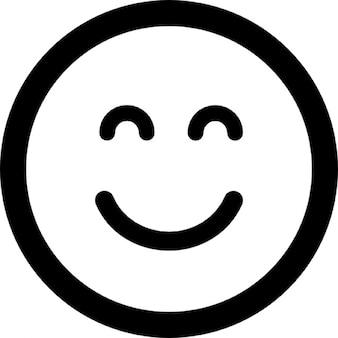 Emoticon vierkant lachend gezicht met gesloten ogen