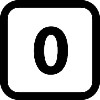Getal nul in een vierkant met afgeronde hoeken