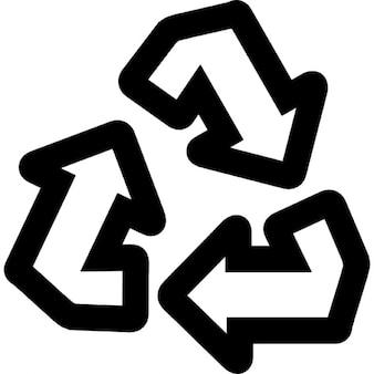 Hergebruik symbool van drie pijlen die een driehoek