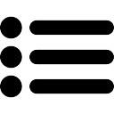 Lijst symbool van drie items met stippen