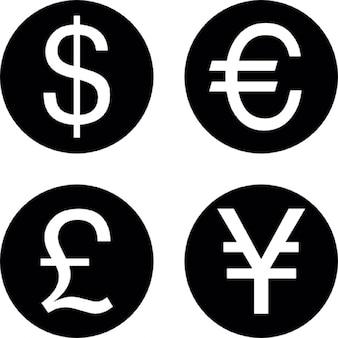 Munten van vier verschillende valuta's