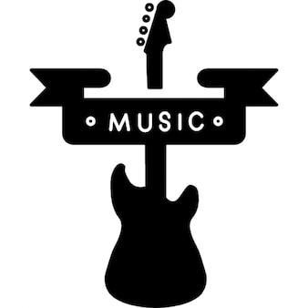 Muziek banner en een gitaar silhouet