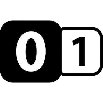 Nul tot een binaire interface-symbool met twee nummers in afgeronde vierkanten
