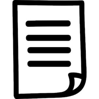 Papieren lijst hand getekende symbool