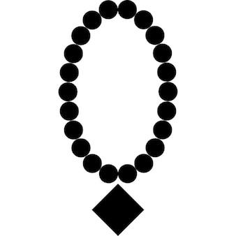 Parel ketting met diamanten hanger
